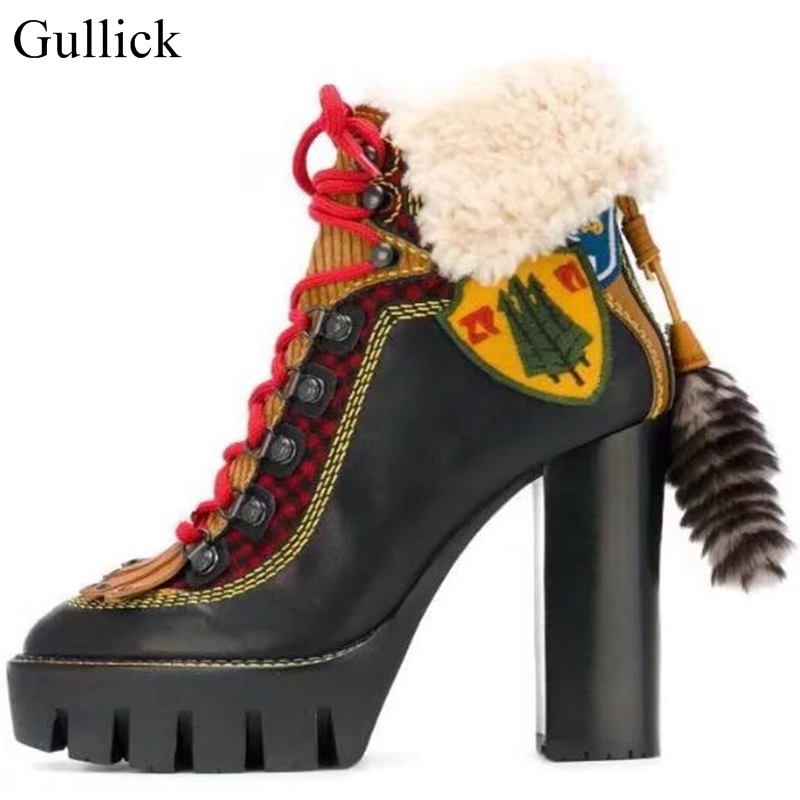 Gullick Winter Black Yellow Patchwork Round Toe Platform Sole Lace Up Ankle Boot Front Fur Back High Heel Stivale Ankle Boots 2017 fall winter blue denim short sandal boots front back lace up open toe ankle boots brown black high heel high top sandals