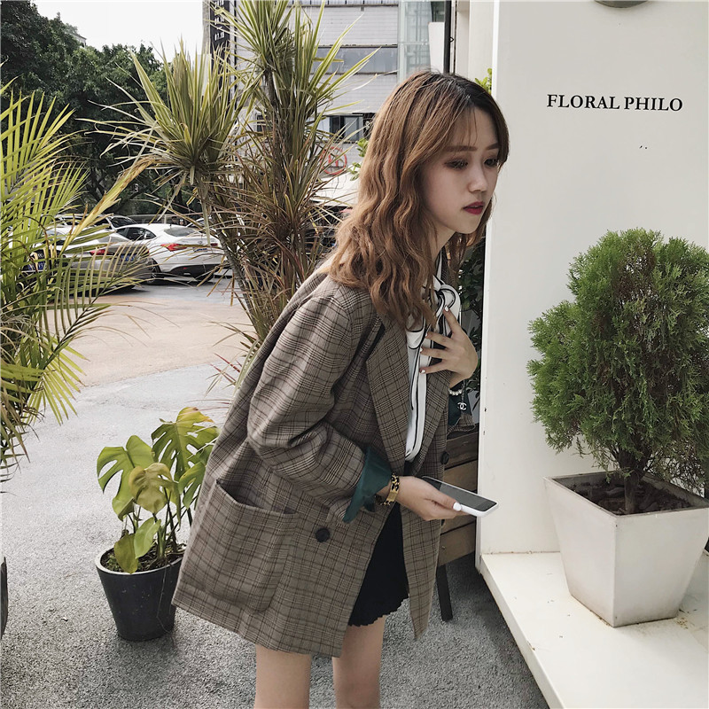 Mazefeng Spring Autumn Women Plaid Double Breasted Double Breasted  Women Casual Notched Coat Ladies Fashion Loose Style Suits