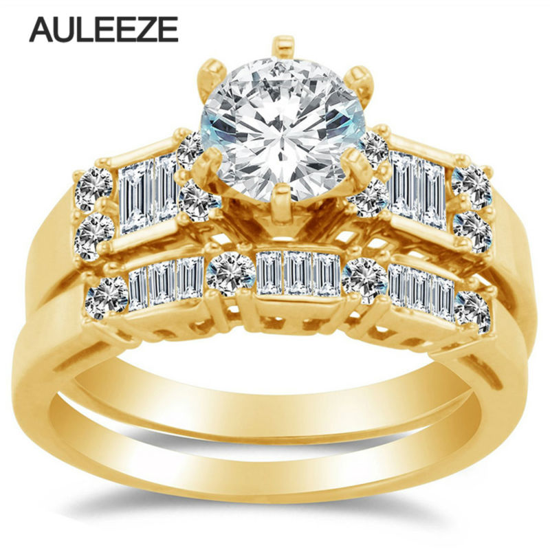 Royal Design Lab Grown Diamond Engagement Wedding Ring Set Solid 14K Yellow Gold Moissanites Matching Wedding