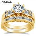 Royal Дизайн Лаборатория Grown Бриллиантовое Обручальное Обручальное Кольцо Set Solid 14 К Желтое Золото Moissanites Соответствующие Обручальное кольцо Невесты Набор