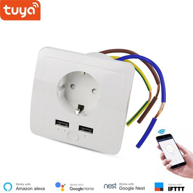 Enchufe WiFi de pared Compatible con Alexa, 2 puertos de carga USB, enchufe inteligente de 15A, Control de aplicación remota inteligente IFTTT