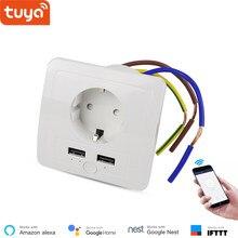 Alexa Compatible EU Wall WiFi Socket 2 USB Charging Ports 15A Smart Socket Smart Life App Remote Control Smart Outlet IFTTT