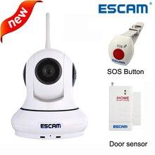 ESCAM QF500 Wireless indoor HD P2P Cámara IP de la Ayuda 32 GB Tf de La Visión Nocturna Pan/Tilt WIFI de Alarma sistema + SOS Button + sensor de la puerta