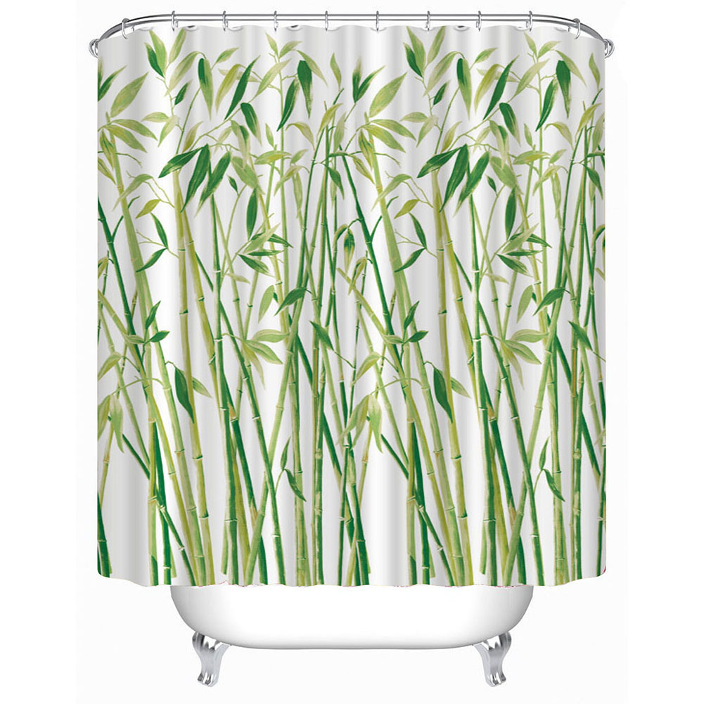 Bamboo shower curtain - New Shower Curtain 3d Small Bamboo Printed Bathroom Curtains 180x180cm Waterproof Polyester Bathroom Products Beautiful Cover