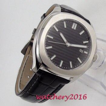 цена 39mm Sterile Black Dial Luminous Maker Sapphire Glass Date Steel Case Automatic Movement Men's Watch онлайн в 2017 году