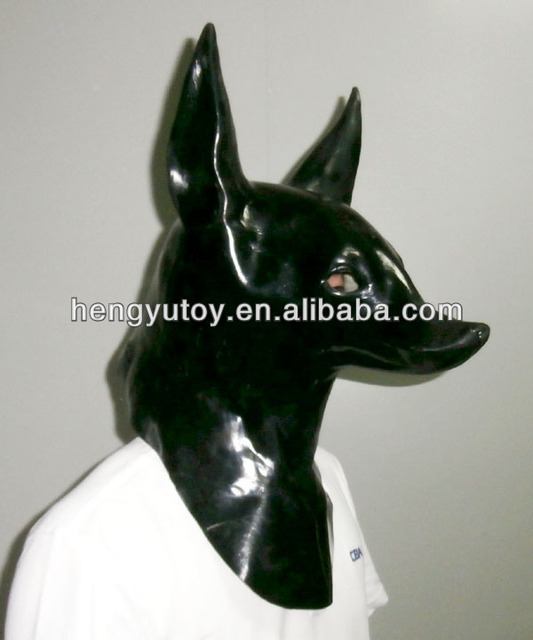animal costume latex anubis dog head mask for adult halloween masquerade party dress up