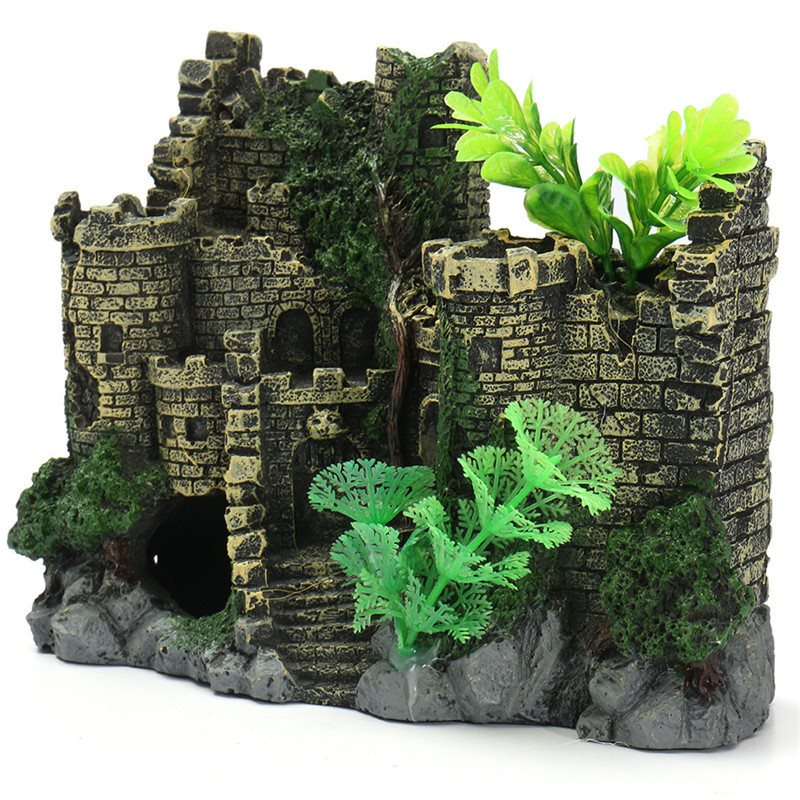 resin green aquarium decoration the ruins ancient castle. Black Bedroom Furniture Sets. Home Design Ideas