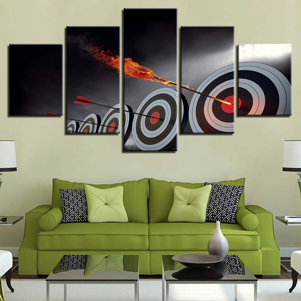 Wall Art HD Printing Canvas Paintings 5 Pieces Arrow Target Poster Home Decoration Moder ...