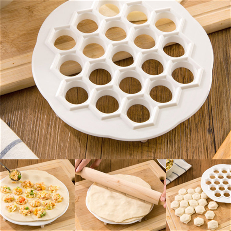 Design Kitchen DIY Eco Friendly Fast Make Dumplings Tool Jiaozi Machine Pastry Tool plastic 19 Holes Dumplings Maker Mold