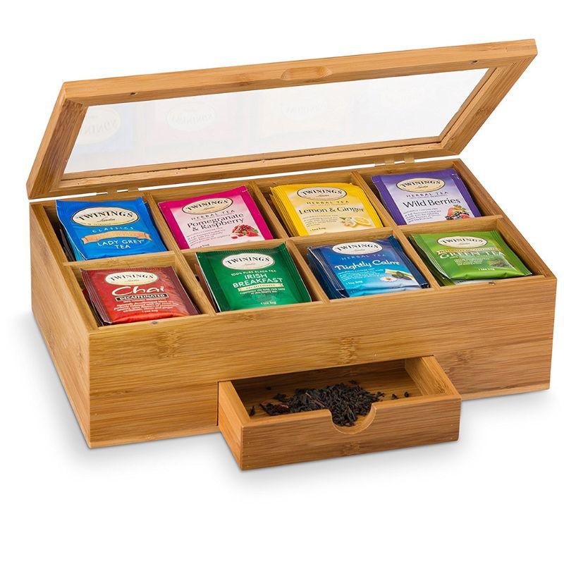 Boîte à thé en bambou avec petit tiroir 100% idée cadeau de thé en bambou naturel