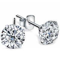 Certified Real 925 Sterling Silver Stud Earrings With Round AAA Zircon Classic Unisex Design For Man