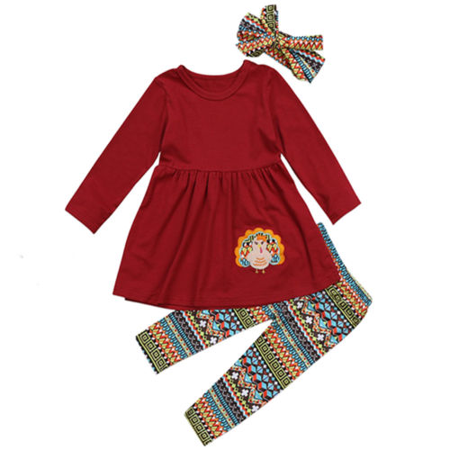 Cute Thanksgiving Turkey Kids Baby Girl  Clothes T-shirt Top Dress+Print Pants Thanksgiving Set Outfit
