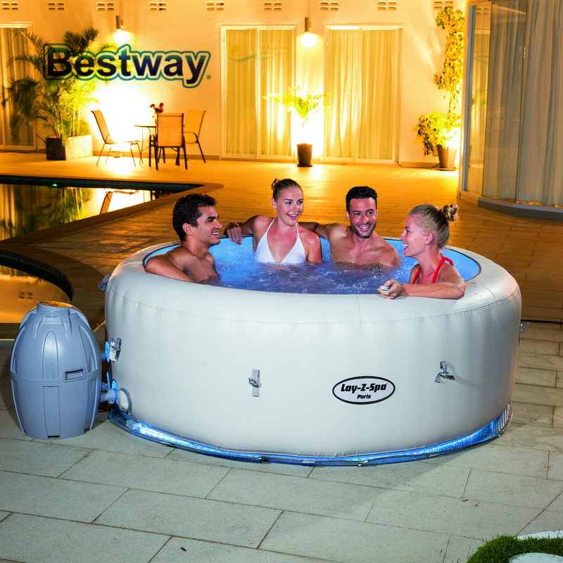 54148 Bestway 77x26/196x66cm Palm Springs AirJet Inflatable SPA Set Large Round Thick Inflatable Family Swimming Pool for 4-6
