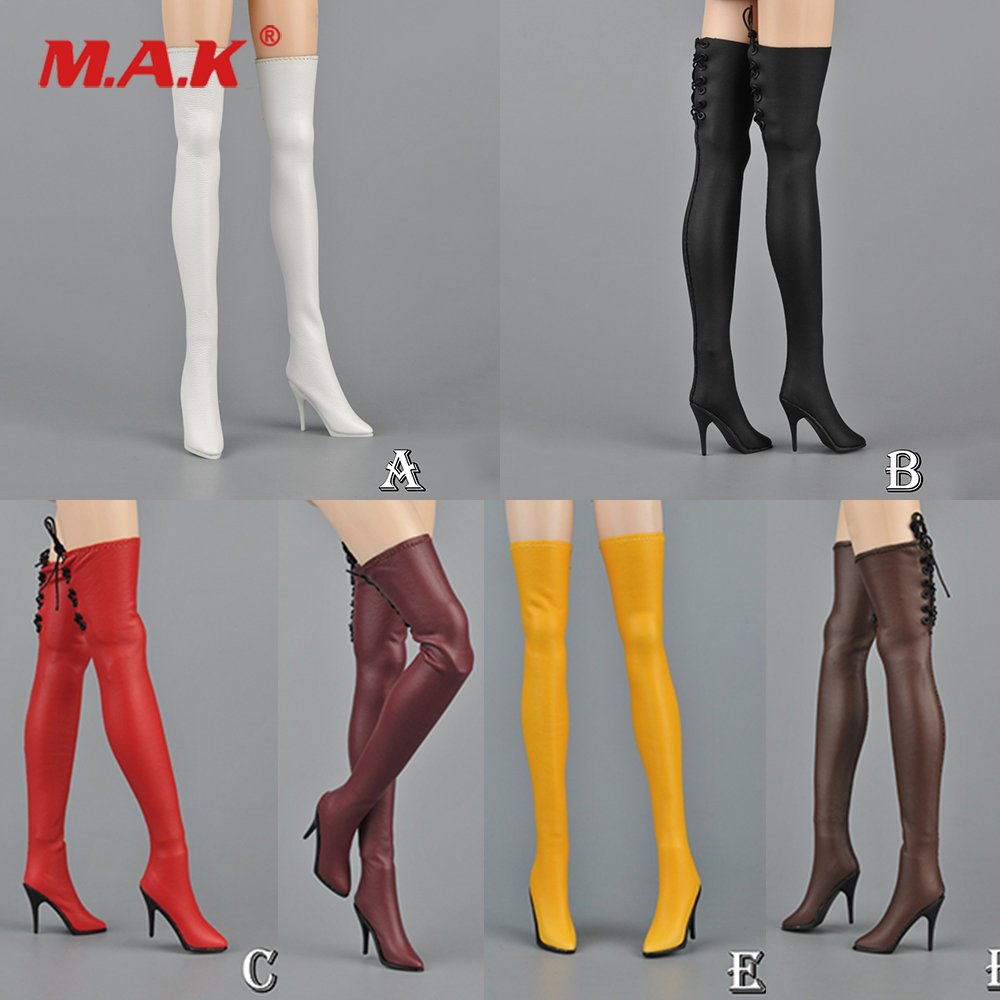 1//6 Scale Flirty Girl FGC2019-17 White Boot High Heels Shoes Boots Toy