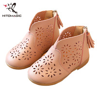 HITOMAGIC Baby Casual Shoe Leather Shoe Children Flat Hollow Breathable Tassel Fashion Boots Sandals Girls Shoes