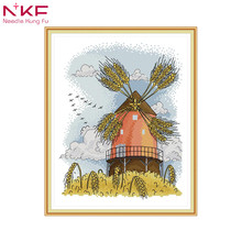 Four seasons windmill - autumn Cross stitch kits Embroidery needlework sets with printed pattern canvas for Home Decor Painting