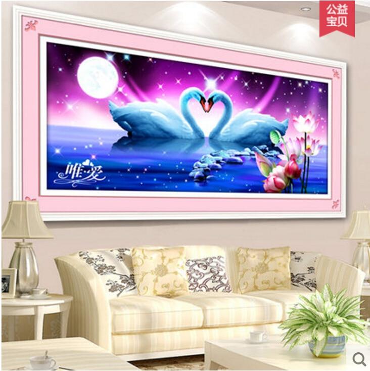 80*37CM DIY 5D Diamond Diamond Painting Swan Eternal Love Round  Cross Stitch Kits Diamond Mosaic Home Decor Diamonds Embroidery