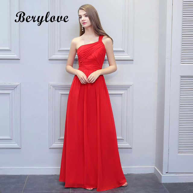 BeryLove Simple Red One Shoulder Evening Dresses 2018 Long Chiffon Prom  Dresses Special Occasion Dresses Formal Party Gowns 81990b2331a8
