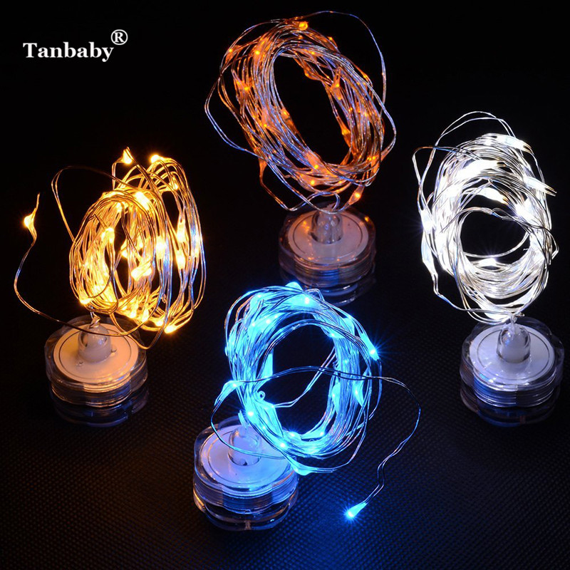 Tanbaby 5pcs/lot 2M 20 LED CR2032 Battery String Light for Xmas Garland Party Wedding Christmas Flasher Submersible Fairy Light