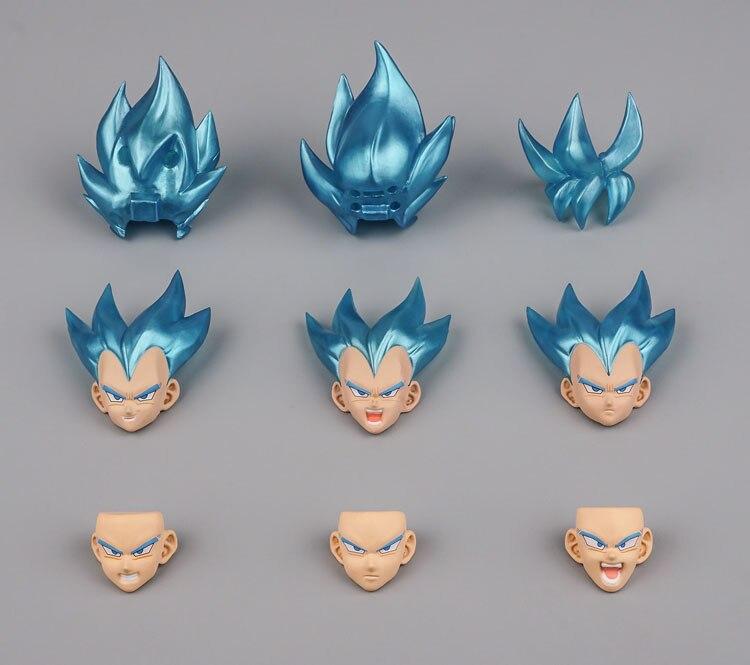 SHF Goku & Vegeta avec ajustement diabolique SSJ bleu personnalisé tête et cheveux Set accessoires