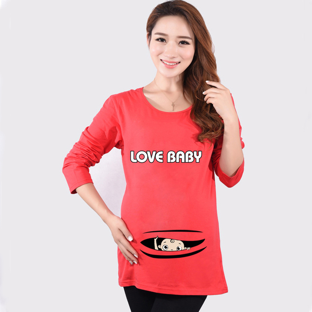 1053ec4282fa2 Maternity Funny Baby Peeking Out Shirt Autumn Hot Red Long Sleeve Top Tees  Clothes For Pregnant Women Pregnancy Wear Clothing