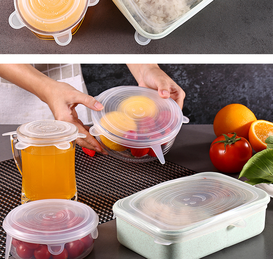 6pcs Silicone Cover Stretch Lids Reusable Airtight Food Wrap Covers Keeping Fresh Seal Bowl Stretchy Wrap Cover Kitchen Cookware
