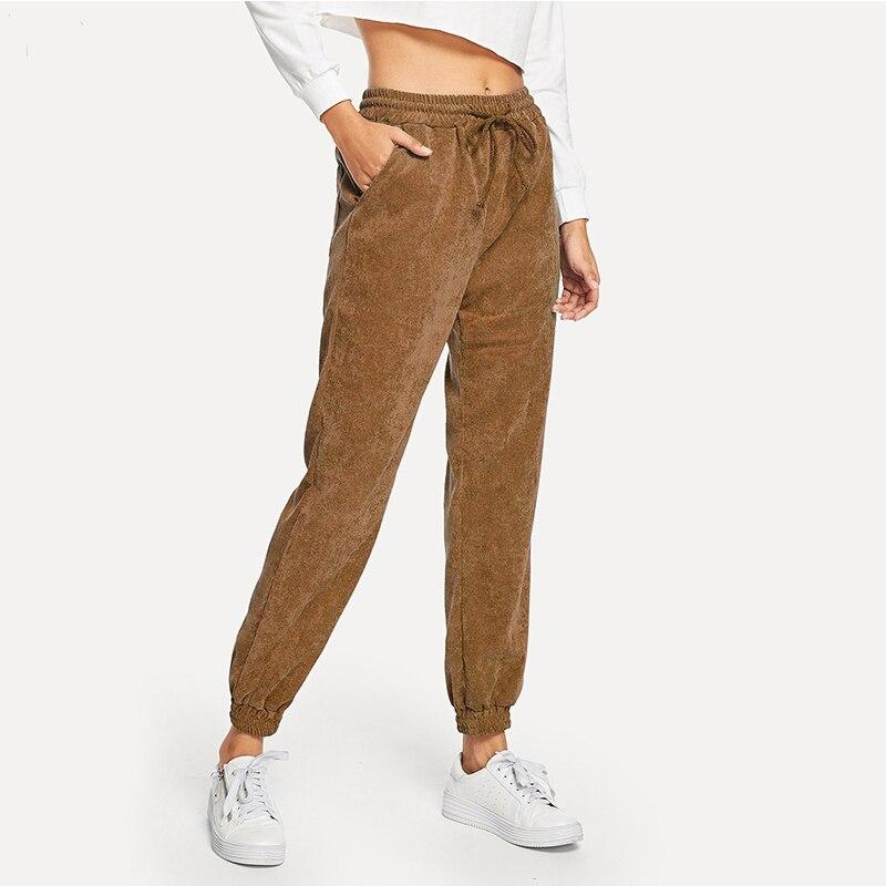 winter casual straight pants women warm purple navy gray corduroy pants mid waist long elastic trousers pantalon femme 81730