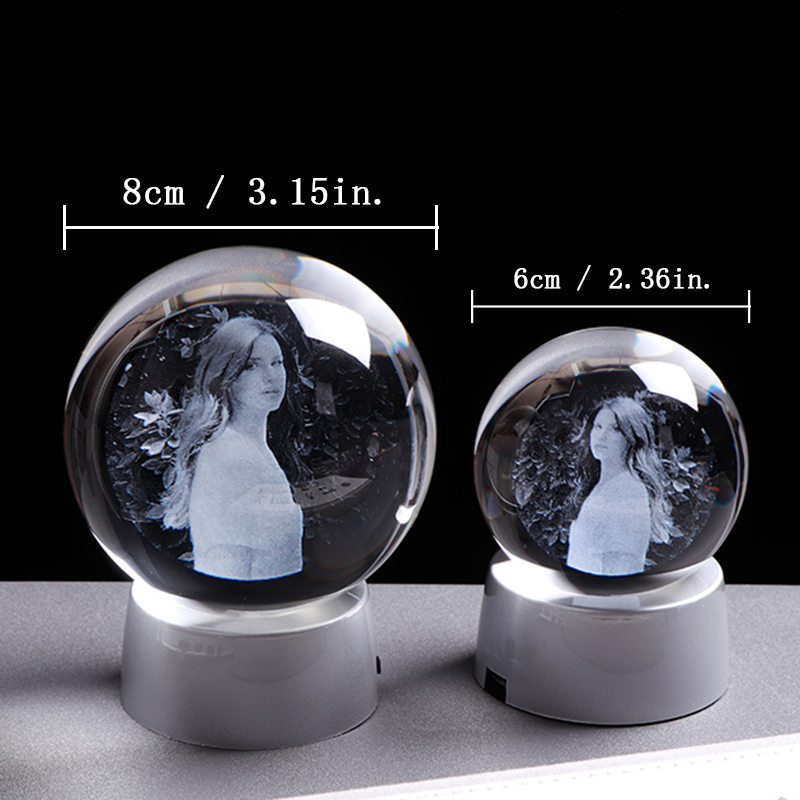 Photo Custom Crystal Photo Ball Gift Glass Present with Changeable LED Base Wedding Gift for Guests