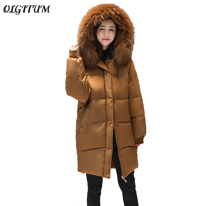 2017 New Female Winter jacket Big Fur Collar Hooded Long section Cotton coat women loose thicken warm Korean Fashion Coat Parkas new arrival fashion korean winter hooded cotton adjustable hem double breasted puff sleeve fur collar women jacket coat h4283
