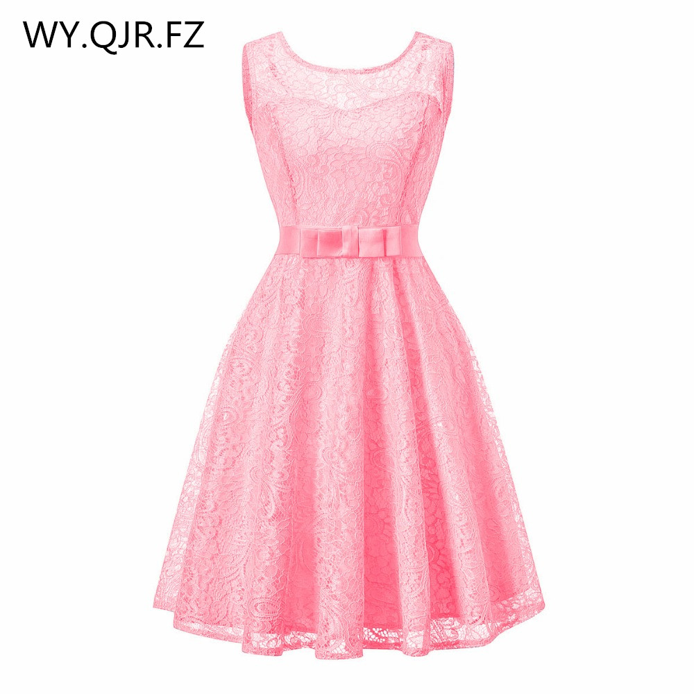 OML513#Lace Splicing European American Fashion Pink Wedding Party Dress Girls Prom 2019 Short Bridesmaid Dresses Wholesale Chea
