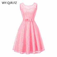 OML513#Lace splicing European American fashion pink wedding party dres