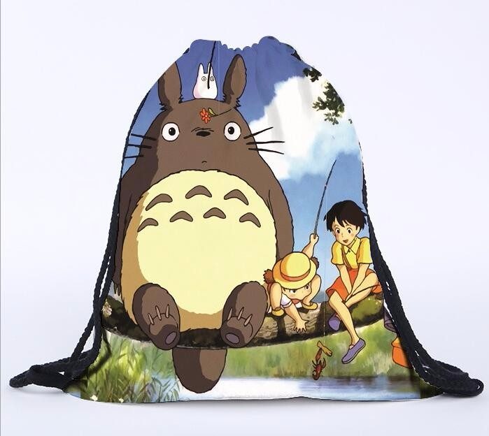 2 Pieces New 3d Drawstring Beam Mouth Sundries Bag Totoro Print Travel Shoulders Backpack Shoes Bag Drawstring Storage Bags