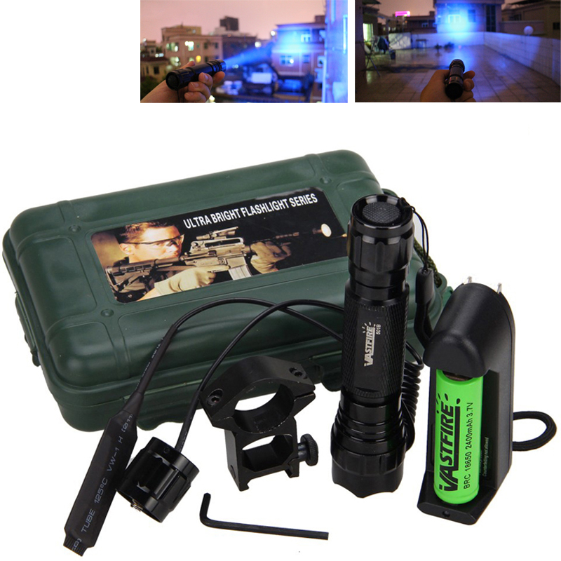 Led Hunting Light Tactical Flashlight+Optional Rechargeable 18650 Battery&Charger Torch Gun Scope Mount Remote Pressure Switch led xm l2 flashlight 8000lumens tactical flashlight hunting flash light torch lamp 18650 battery charger gun mount