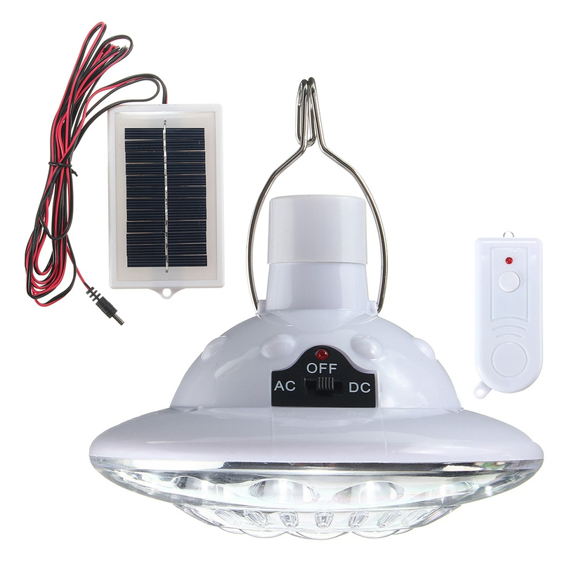 22 LED Solar Powered Yard Outdoor Hiking Tent Light Camping Hanging Lamp With Remote Control Pure White Solar panel 3.7 v / 1 w