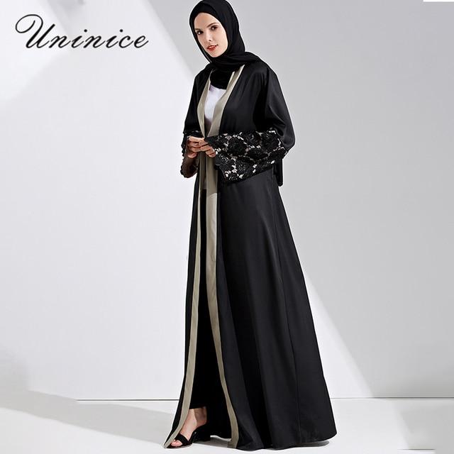 95920995c43e7 الأزياء مسلم العباءة مفتوحة ماكسي فستان الدانتيل سترة طويلة العباءات رداء  كيمونو الجلباب الإسلامي رمضان العربية