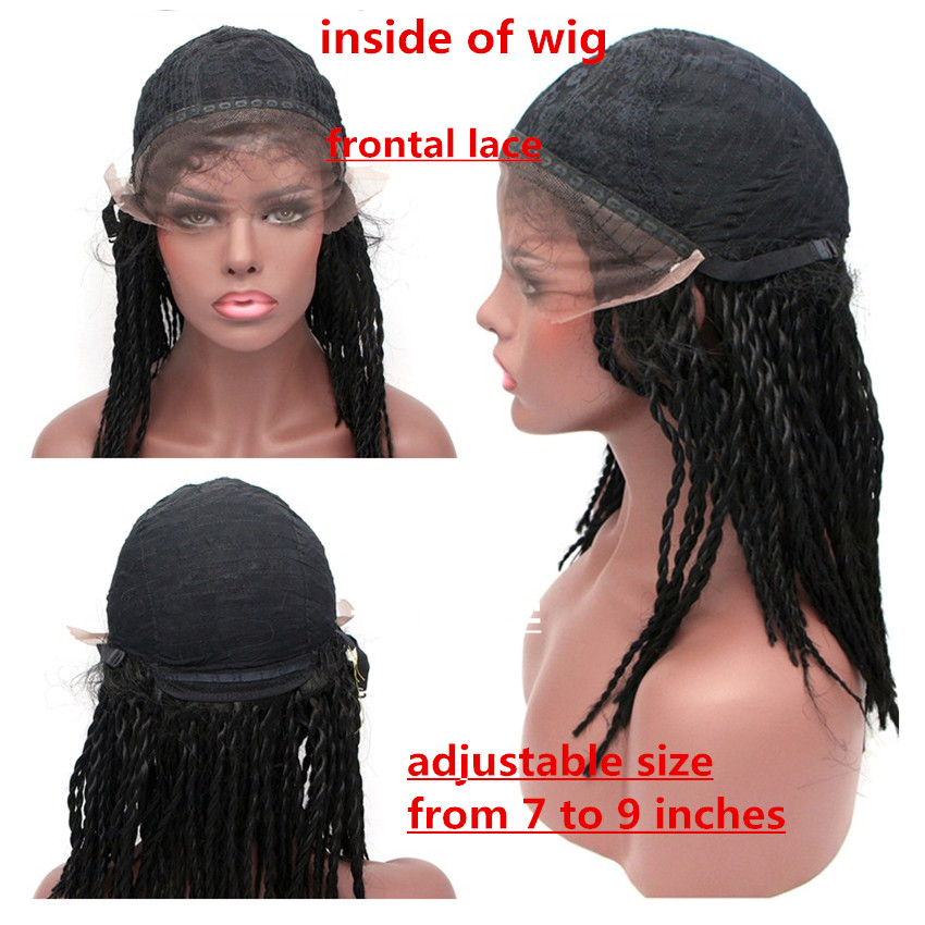 Image 5 - Feibin Lace Front Braid Wigs For Black Women High Temperature Fiber Full Head Braiding Hair Black Wig 14 16 18 20 24 inches c33-in Synthetic None-Lace  Wigs from Hair Extensions & Wigs