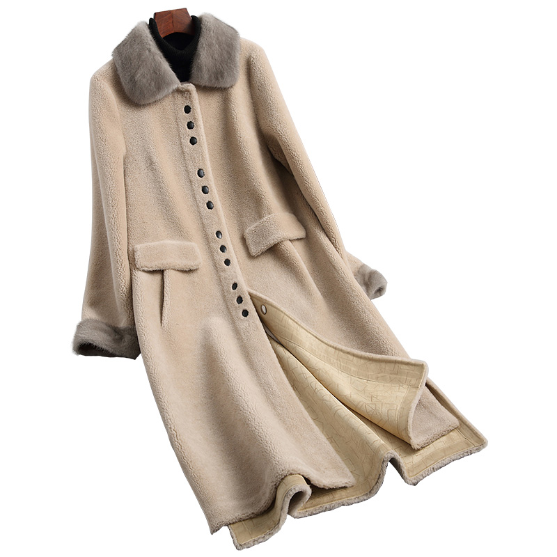 Manteau col vrai fourrure femme