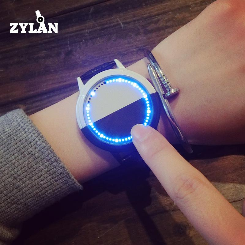 ZYLAN Cool LED Black&White Digital Backlight Stylish Leather Wristwatches Wrist Watch for Men Male Women stylish digital camouflage pattern 5cm width coffee color tie for men