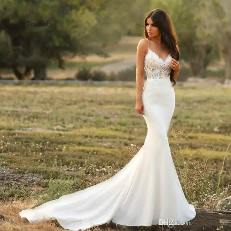 Sexy Bohemian Mermaid Wedding Dress Sleeveless Fishtail Tight Satin Applique Country Bridal Gown 2019 Zipper Back Wedding Dress