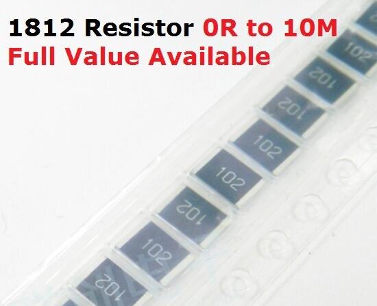 50 PCS/lot résistance à puce SMD 1812 0R/1R/1.1R/1.2R/1.3R/5% résistance 0/1/1. 1/1. 2/1. Résistances 3/Ohm 1R1 1R2 1R3 k livraison gratuite