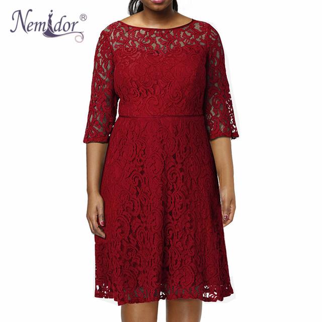 Nemidor Vintage O-neck Lace Dress