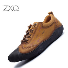 ZXQ Men Shoes Genuine Leather Shoes Casual High Quality Comfort Leisure Man Footwear Nonslip Rubber Brown