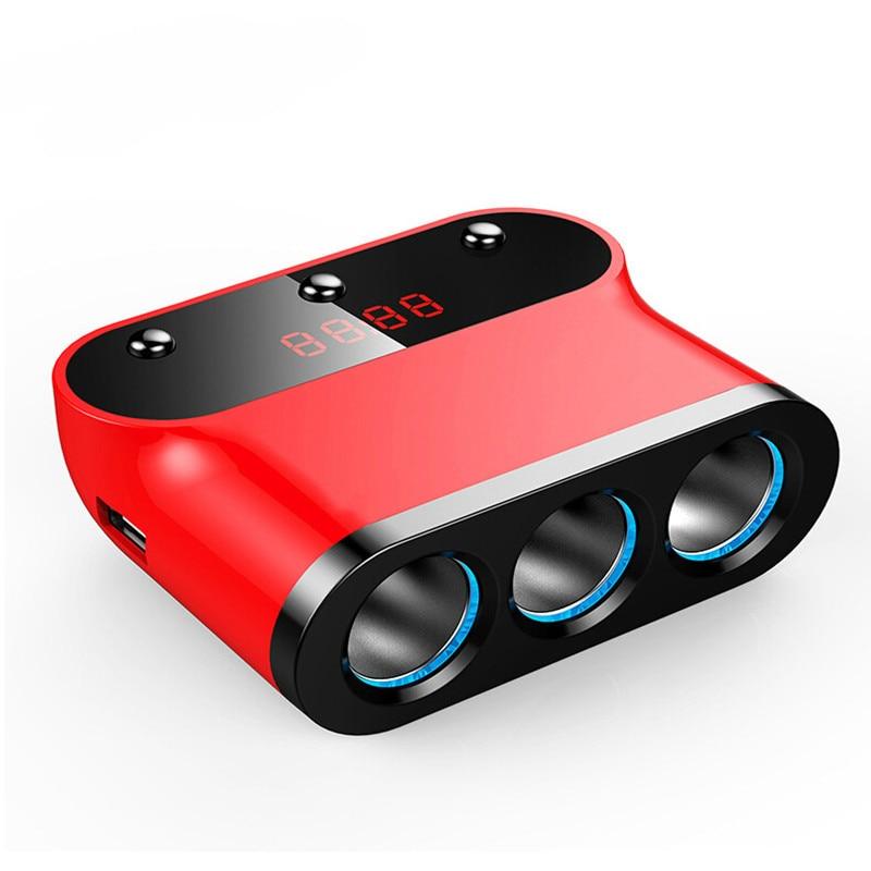 Prix pour Nouvelle voiture-chargeur 3.1A/120 W Double USB Chargeur De Voiture Adaptateur 3 Socket Voiture Allume-cigare Splitter Adaptateur avec Construire-dans Fusible