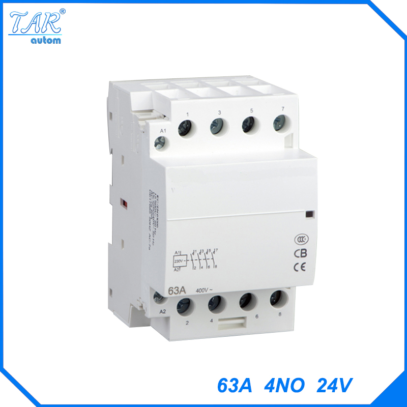 цена на Din rail household AC contactor 63A 4NO 24V Household contact module Din Rail Modular contactor