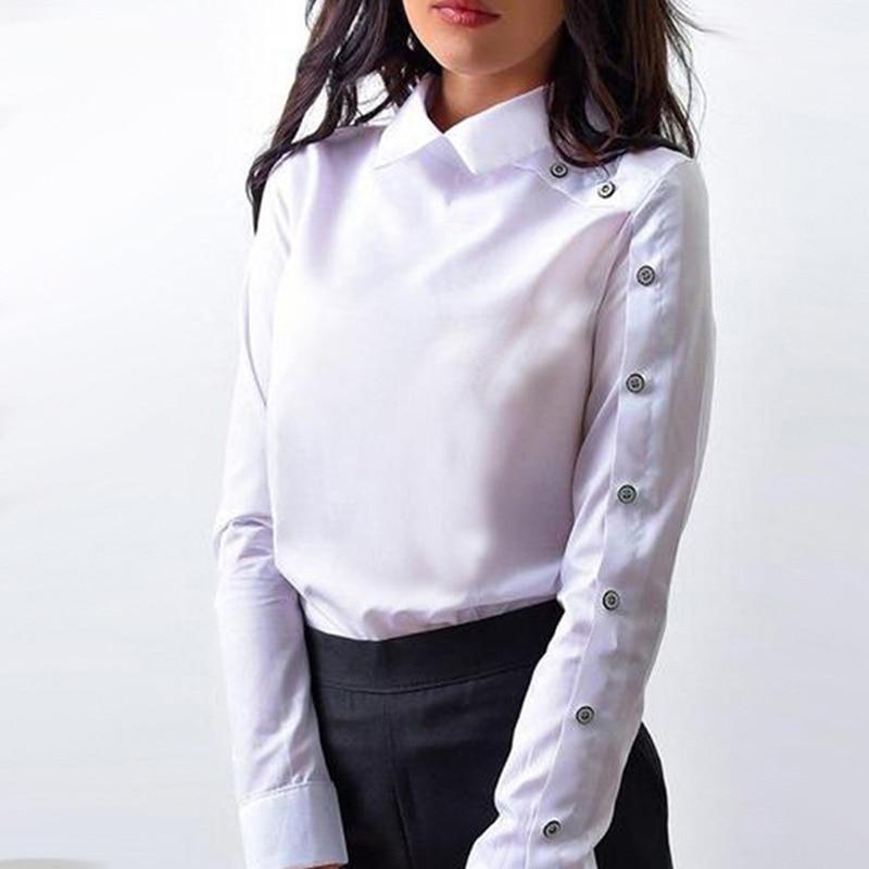 À Lady Office 2019 Offre Manches Et Mode down Spéciale Turn Collar Blusa Blouse Nouvelle Longues Femelle Hauts Femmes white Shirt Blue Bouton OqzcE5w