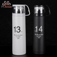 1pchouse Blanco y Negro Color 304L de Acero Inoxidable Frascos de Vacío Termo Termo Taza Térmica Botella Portátil Taza de Café