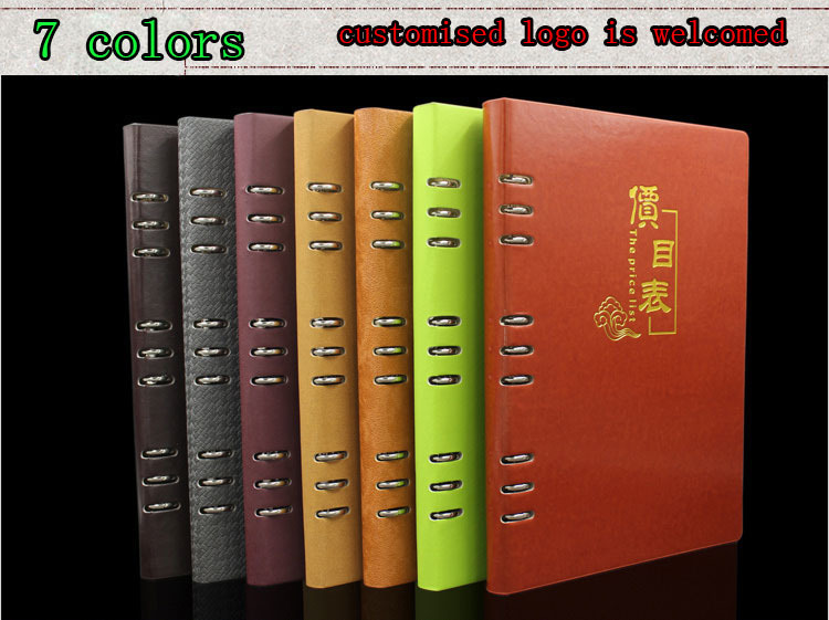 No Logo A4 Presentation Folder,  PU Leather Hole Rings Menu Cover , PVC Transparent Pockets, Holding A4 Directly Or 29x18.6cm