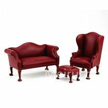 1/12 casa de bonecas móveis em miniatura escala rexine sofá Artesanal Cadeira e Otomano 3 pcs set