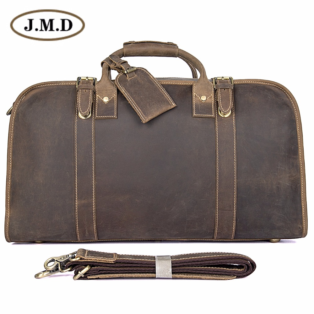 J.M.D Genuine Crazy Horse Leather Men's Travel Duffel Bag Huge 21 Inches 6004R