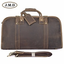 J.M.D Genuine Crazy Horse Leather Mens Travel Duffel Bag Huge 21 Inches 6004R